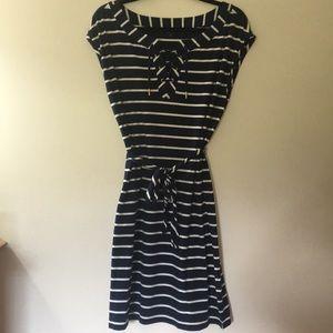 Tommy Hilfiger lace up front navy stripe dress